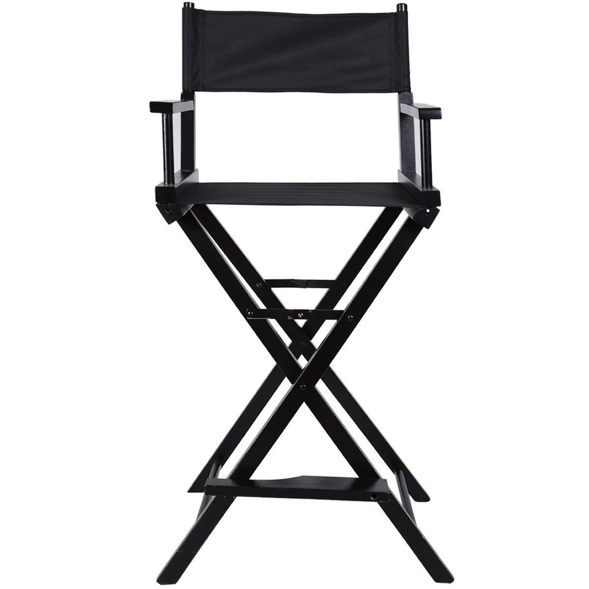 Apontus Professional Makeup Artist Directors Chair Wood Light Weight Foldable Black New