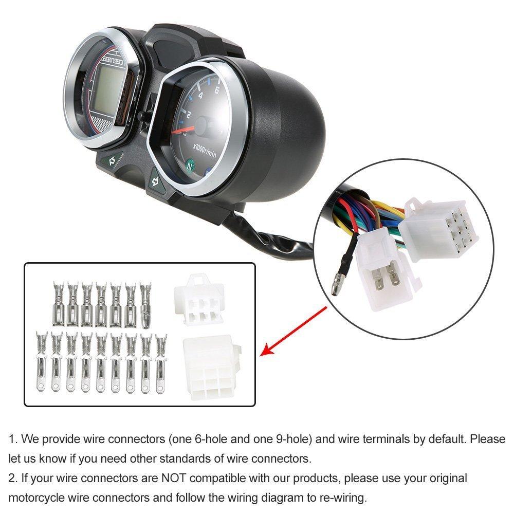 Buy Kkmoon Lcd Digital Backlight Motorcycle Odometer Speedometer Wiring Connectors Tachometer Gauge For Honda Cg125 Series Online At Low Prices In India