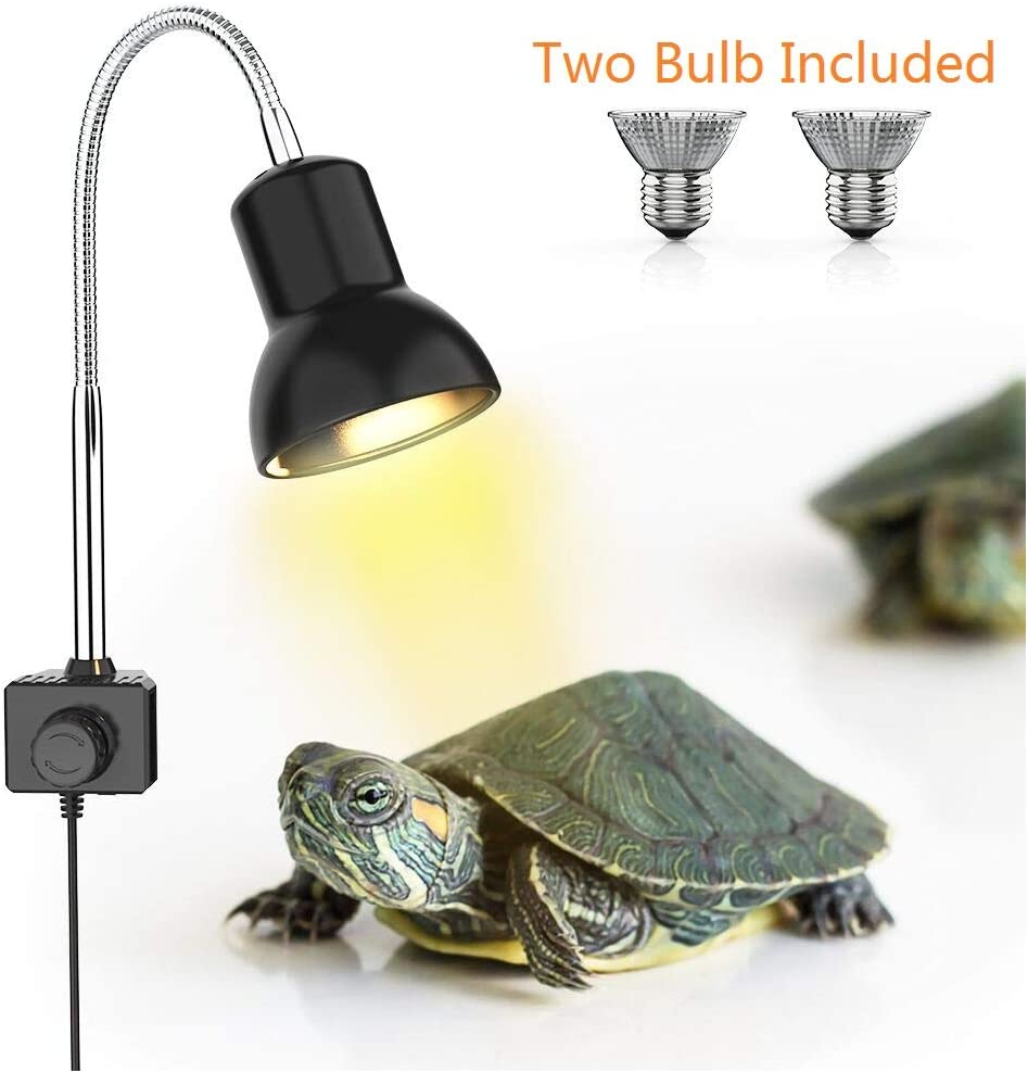 DADYPET 25W Reptile Heat Lamp, Clamp Lamp for Aquarium with Holder UVA UVB Basking Lamp with 360°Rotatable Clip & Power Adapter for Lizard Turtle Snake Aquarium(Lamp Bulb Include)