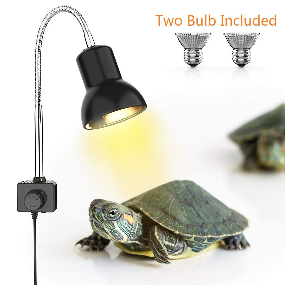 DADYPET 25W Reptile Heat Lamp, Clamp Lamp for Aquarium with Holder UVA UVB Basking Lamp with 360°Rotatable Clip & Power Adapter for Lizard Turtle Snake Aquarium(Lamp Bulb Include) by DADYPET