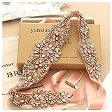 Yanstar Blush Sash Wedding Bridal Belt Rose Gold Rhinestone Crystal Pearls Sewing On Wedding Dress-18.3''2''/46.5cm5cm rhine