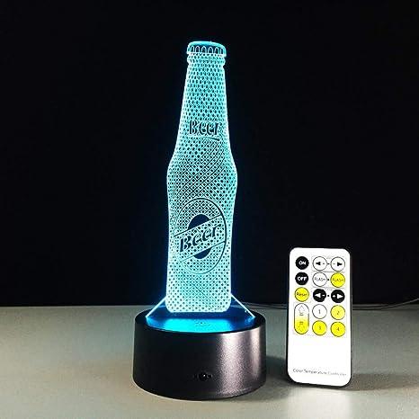 3D Lámpara LED Botella de cerveza Noche de Control Remoto Luces ...