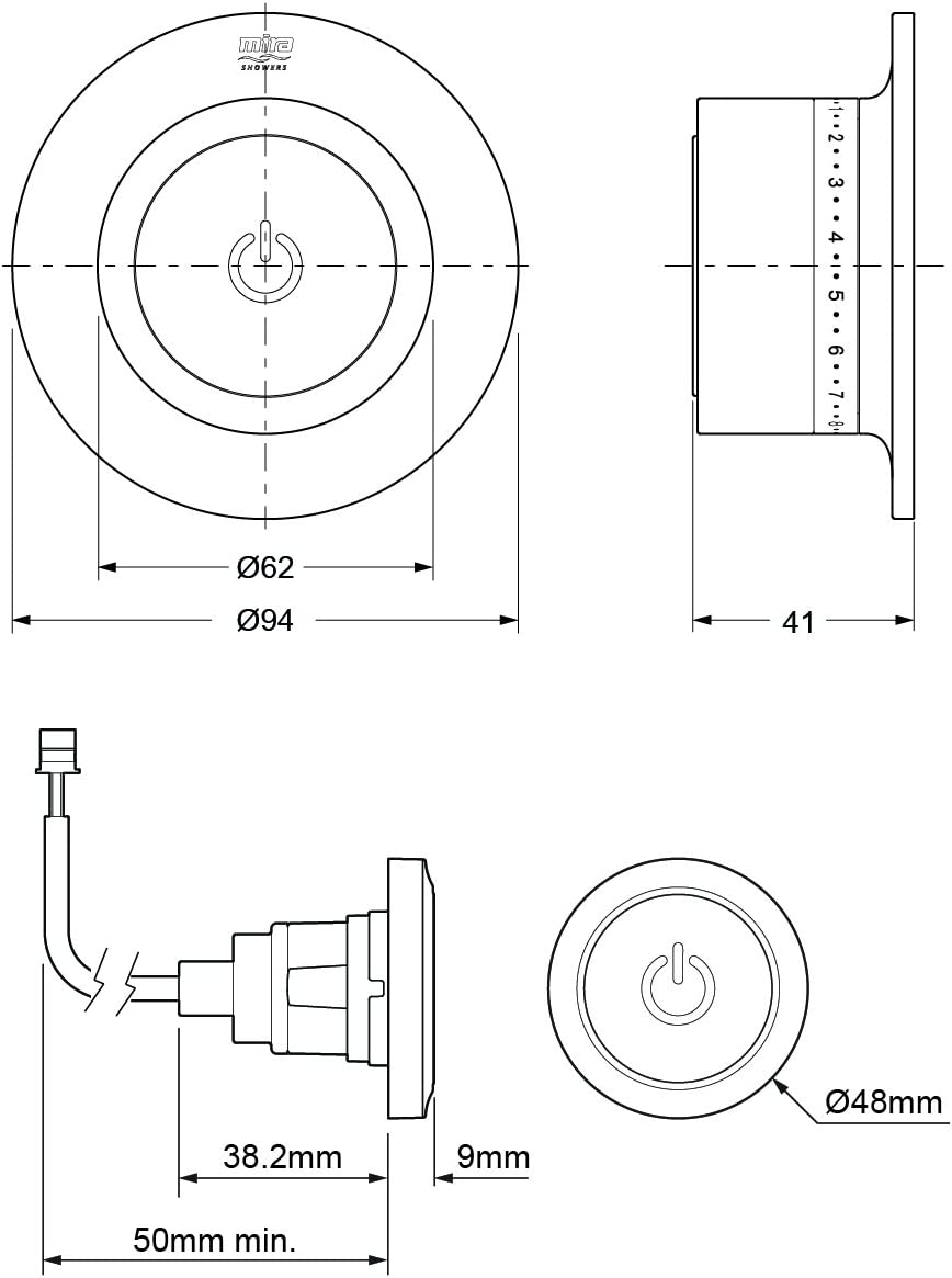 Chrome Mira Showers 1.1874.013 Mode Digital Shower High Pressure//Combi Boiler Without Fittings