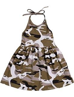 369ea7abb0b1b Toddler Baby Girl Dresses Camouflage Skirt Summer Sleeveless Halter Beach  Skirt