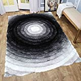 Cheap Decorative New Shimmer 8×10 Shaggy Shag Modern Contemporary Black White Two Tone Color Carpet Area Rug Circles Design Viscose Yarns Hand Tufted Two Toned 3D Bedroom Living Room (SAD 281 Black White)