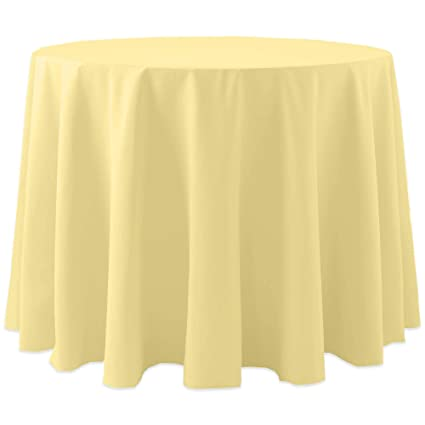 Ultimate Textile Cotton Feel 72 Inch Round Tablecloth Cornsilk Light Yellow