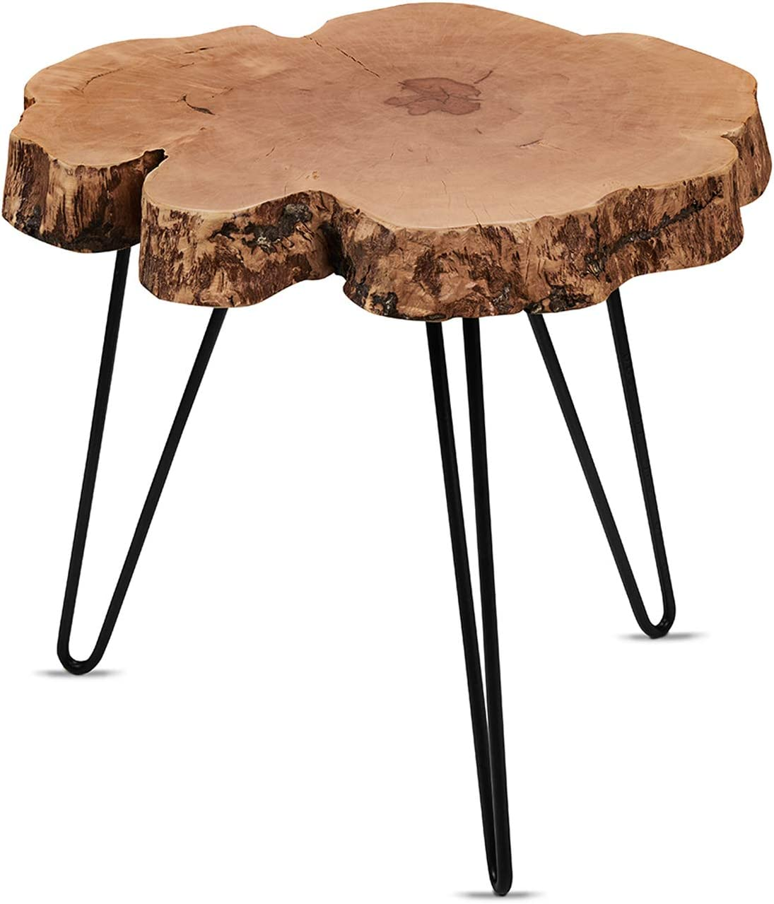 Cander Berlin MNT 0240 Beistelltisch Abstelltisch Couchtisch Litschi (40 45) x 45 cm Baumscheibe Massivholz Sofatisch Kaffeetisch Metall Natur rund