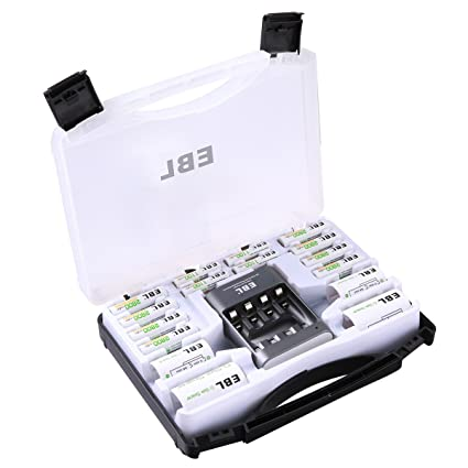 the best attitude ab4ec 788b5 EBL Battery Organizer Storage Case Black for Charger and AA AAA CD  Batteries(Batteries Not Included)