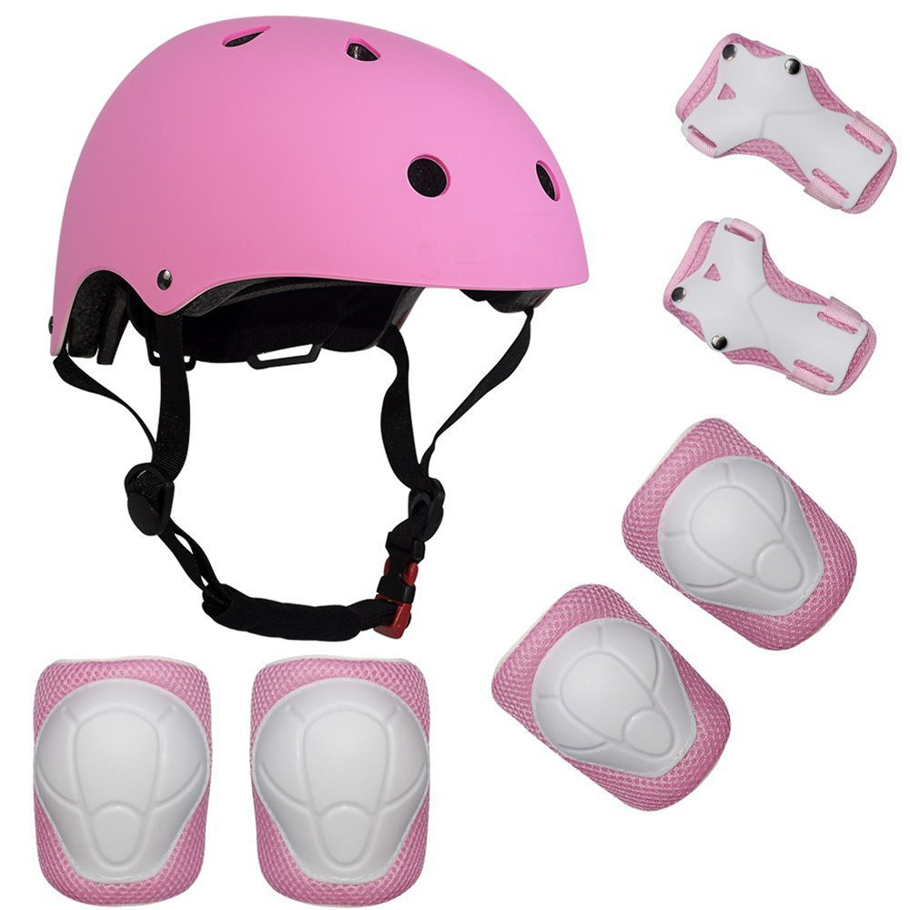 Lucky-M Kids Outdoor Sports Protective Gear ,Boys and Girls Safety Pads Set [Helmet ,Knee&Elbow Pads and Wrist Guards] for Roller, Scooter, Skateboard, Bicycle(4-8 Years Old)(Pink) by Lucky-M