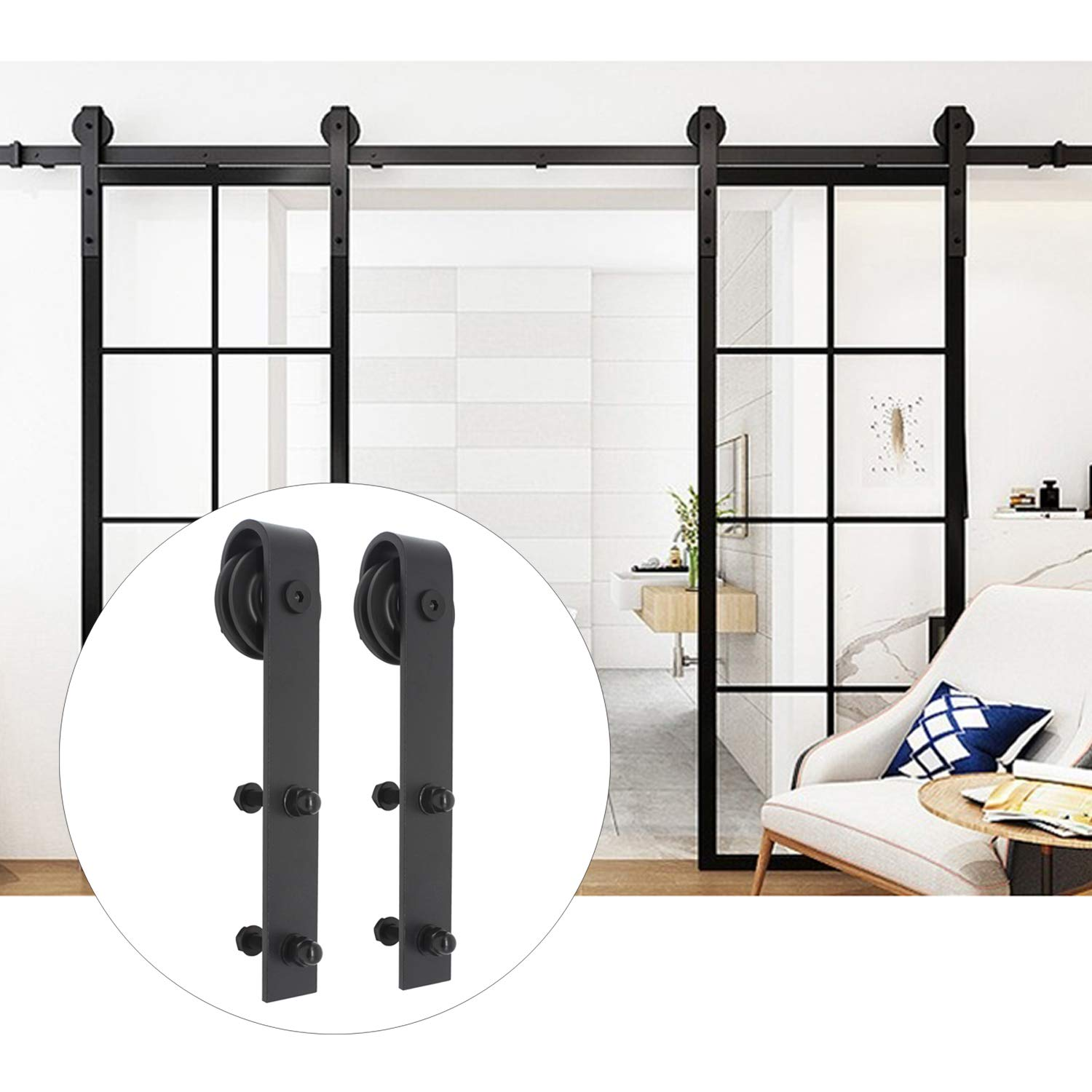16 Feet Sliding Barn Door Hardware Set Superior Quality Track Kit Antique Style (Black), Fit Up to 47'' Double Doors, with Soft Closing Damper by KNOBWELL