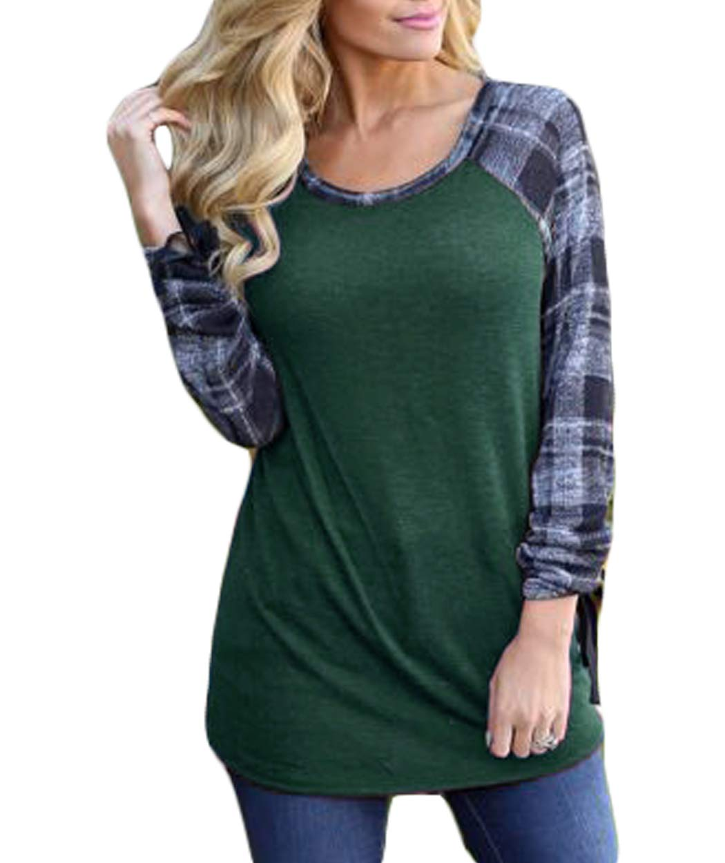 Eanklosco Women Long Sleeve Tops Plaid Patchwork Shirt Casual Round Neck Color Block Tunic Blouse (S, Green)