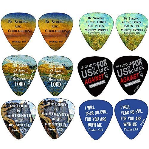 Christian Guitar Picks (12 pack) - Be Strong - Jeremiah 29:11 - Celluloid Medium - Best Stocking Stuffers for Thanksgiving Christmas Birthday Music Ministry - Worship The Lord Excitedly