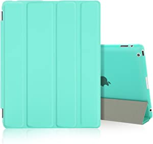 Besdata Ultra Slim Lightweight Smart Stand Cover & Translucent Back Case for Apple iPad 2/iPad 3/iPad 4 Bundle with Auto Wake/Sleep + Screen Protector, Cleaning Cloth & Stylus, Mint Green
