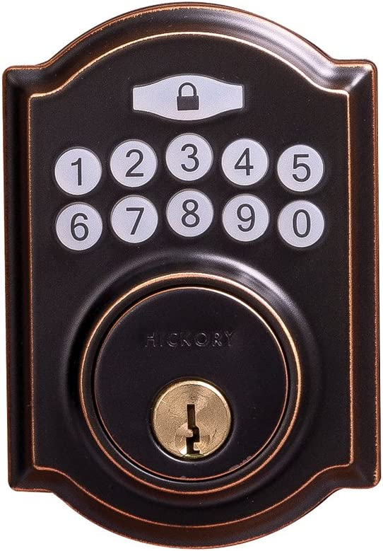 Hickory Hardware H076388-ABZ Smart Bluetooth Grade 3 Electronic Keypad Single Cylinder Deadbolt, 2-11 16 X 3-7 8 X 7 8 , Aged Bronze