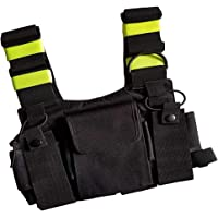 Baoblaze Universal Radio Harness Chest Rig Bag Pocket Pack Holster Vest Fluorescent Green for Two Way Radio