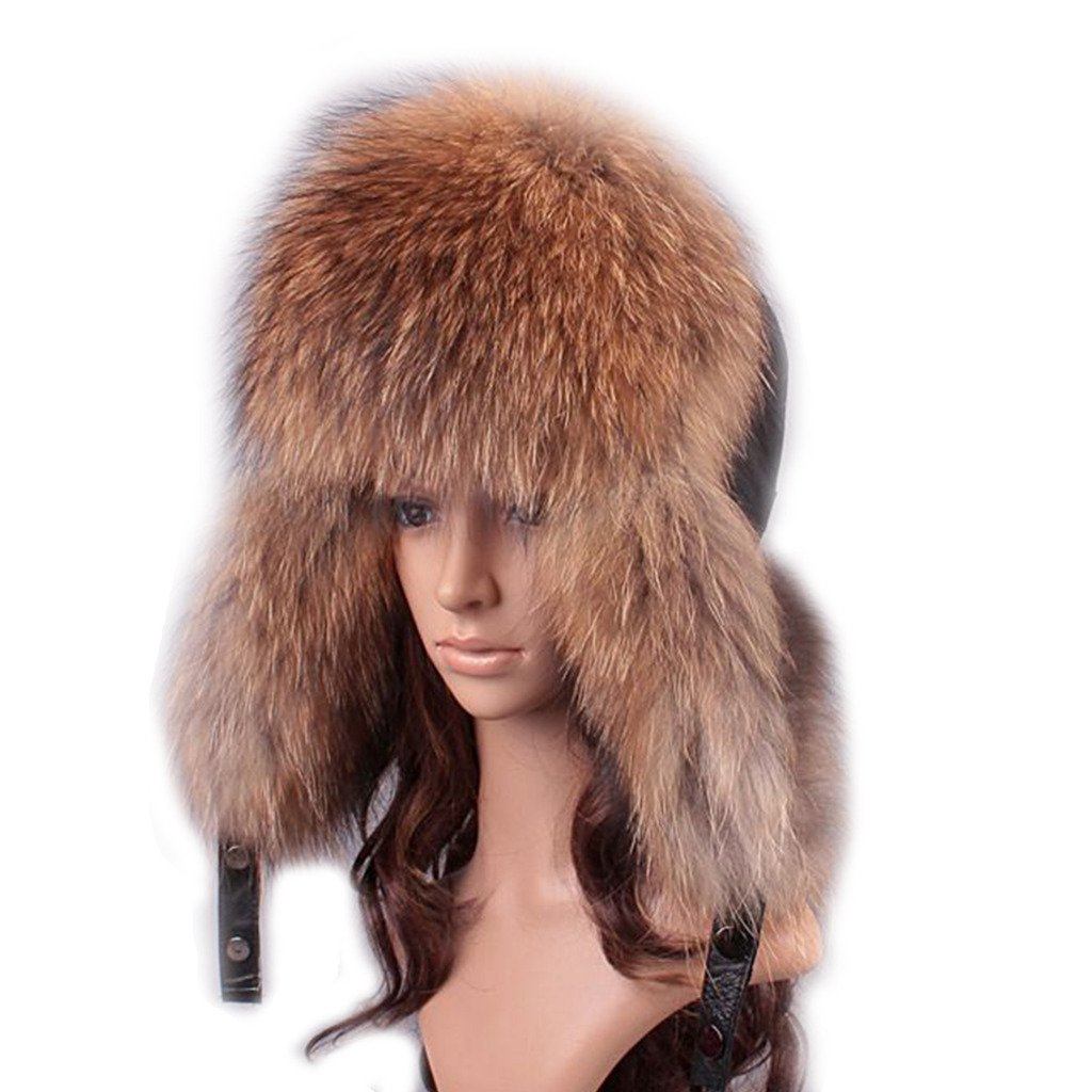 UK.GREIFF Women's Trendy Warm Fox Fur Winter Cap Hat Brown