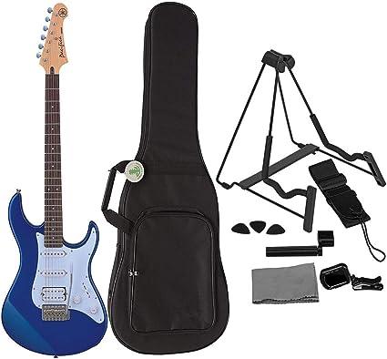 Yamaha PAC012 - Guitarra eléctrica metálica, color azul, incluye funda para guitarra eléctrica, soporte, correa, púas, afinador y paño de pulido: Amazon.es: Instrumentos musicales