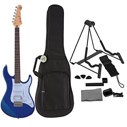 Amazon.com: Yamaha PAC012 Metallic Blue Solidbody Electric Guitar Bundled with Soft Shell Electric Guitar Case, Stand, Strap, Picks, Tuner and Polishing ...