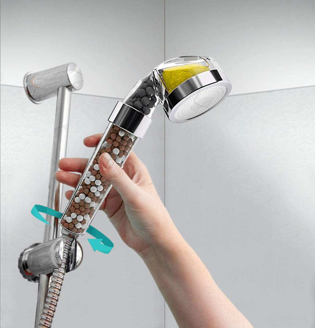 Vitamin C Shower Filter - Filtered Shower Head - Hard Water Softener - Replaceable Filters Remove Flouride and Chlorine - Detachable High Pressure Showerhead with Hose and Handheld Spray by PureAction (Image #5)