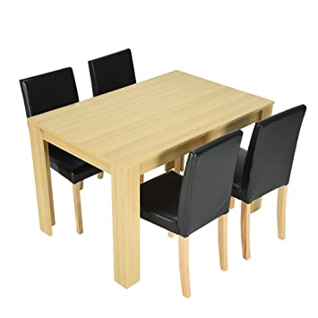 86c1170dec Modern Style Wooden Dining Table and 4 Black Faux Leather Chairs Oak Effect Furniture  Dining Room