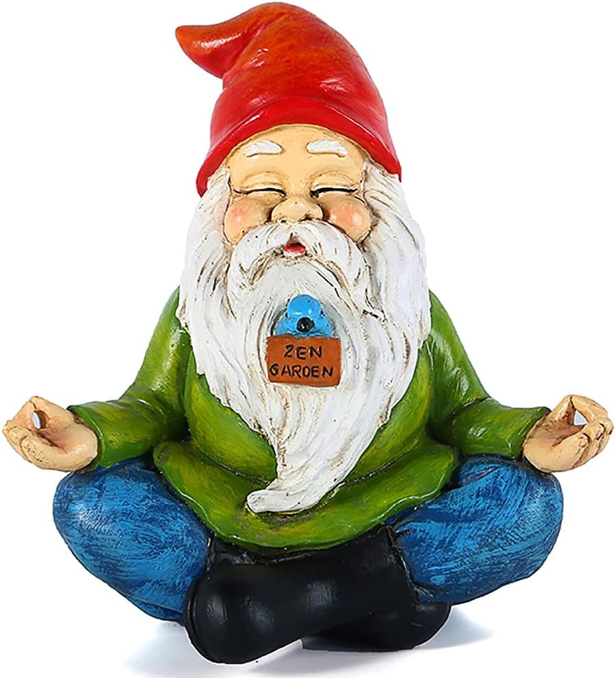 Kayina Zen Garden Gnome Statue,Funny Gnome for Lawn Ornaments,Outdoor Summer Decorations for Patio Yard Porch,9 inch Polyresin Indoor Décor