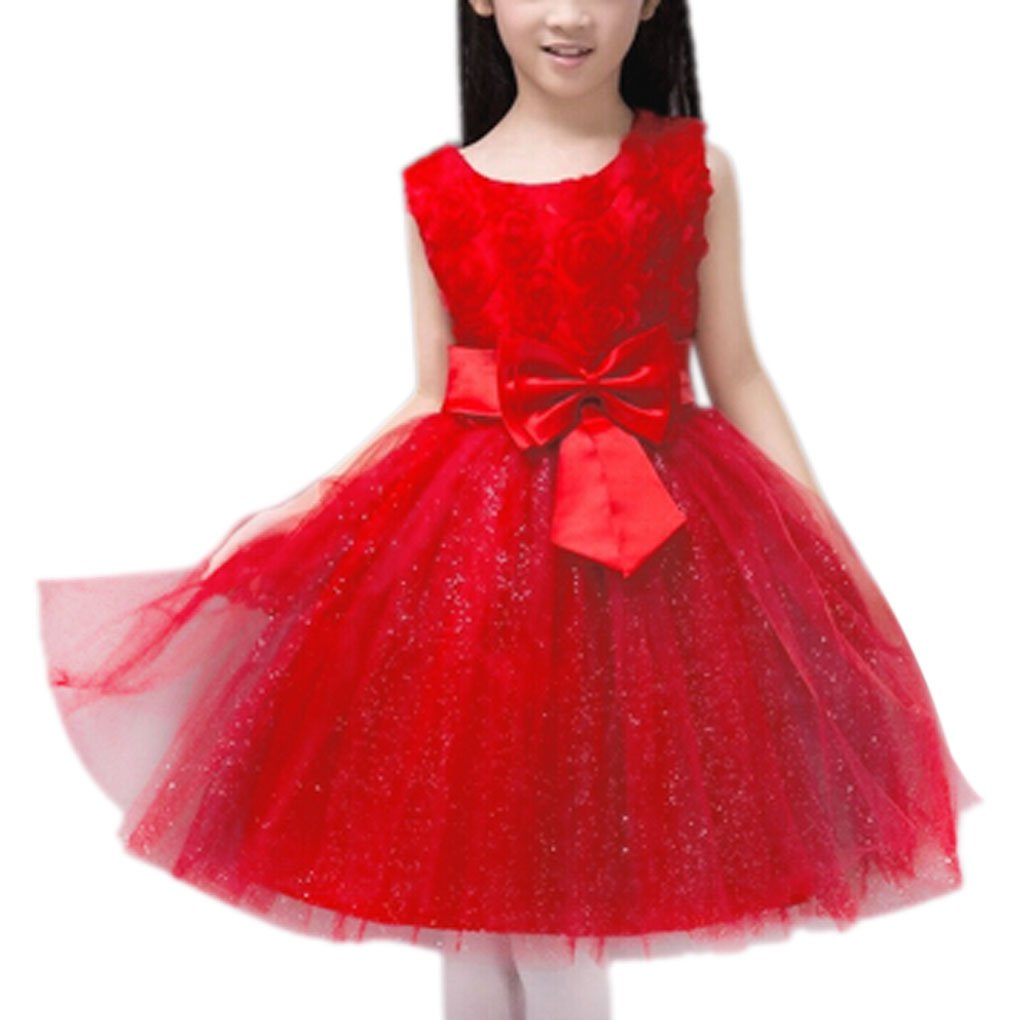 Ball Gown, Kids Girls Princess Evening Party Wedding Flower Girl Dress 7-8Years
