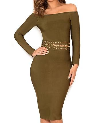 3e4065e8999e Whoinshop Women s Sexy Off Shoulder Long Sleeve Slim Midi Elegant Party Bandage  Dress Green XS