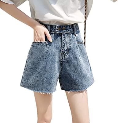 U A Jeans Pantalones Cortos De Cintura Alta Y Pantalones Anchos Para Mujer Amazon Es Ropa Y Accesorios