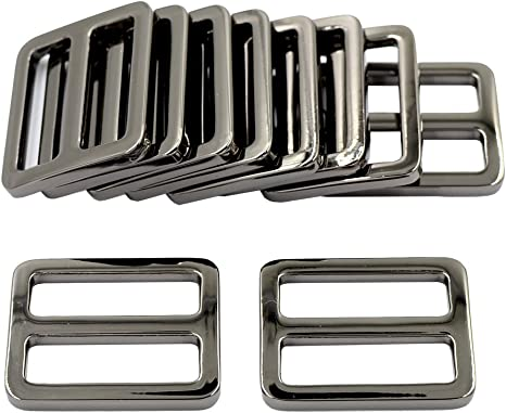 Hao Pro 1 Inch Tri Glides Slides Clips Buckles Gripping Knurled Edge No Slipping Solid 6 Pack for Collars Aprons Sling Bag Adjustable Straps Belt Big Slots No Sharp Edges No Sewing