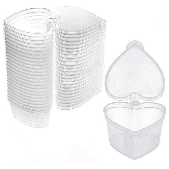 Kentop 10pcs Slime Contenedores con Tapa Recipientes de Almacenamiento de Plástico Transparente Forma de Corazón: Amazon.es: Hogar