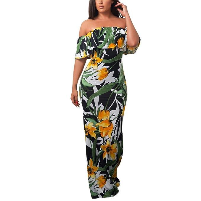 07fef9d78b00c3 Jaysis Damen Off Schulter Floral Lange Maxikleid Abend Party Sommer Strand  Sommerkleid (S, Grün