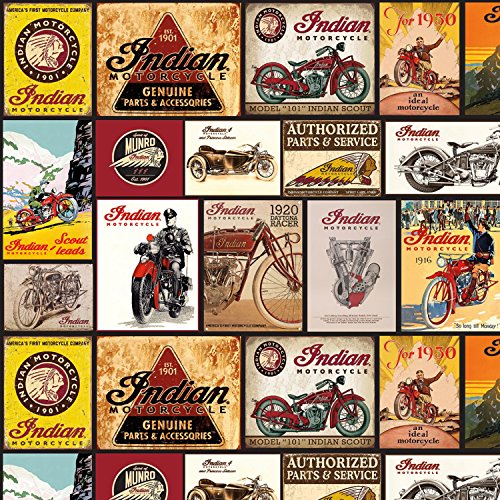 Indian Vintage Signs from The Indian Motorcycle Collection by Riley Blake Designs 100% Cotton Quilt Fabric C7386R-Black - by The Yard