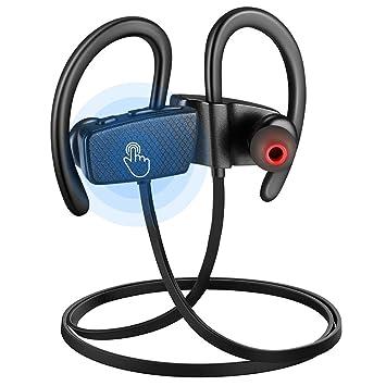 Auriculares Bluetooth Deportivos, Auriculares Inalámbricos Deportivos Pantalla Táctil llamadas Manos Libres, Bluetooth 4.1 con Micrófono Cancelación de ...