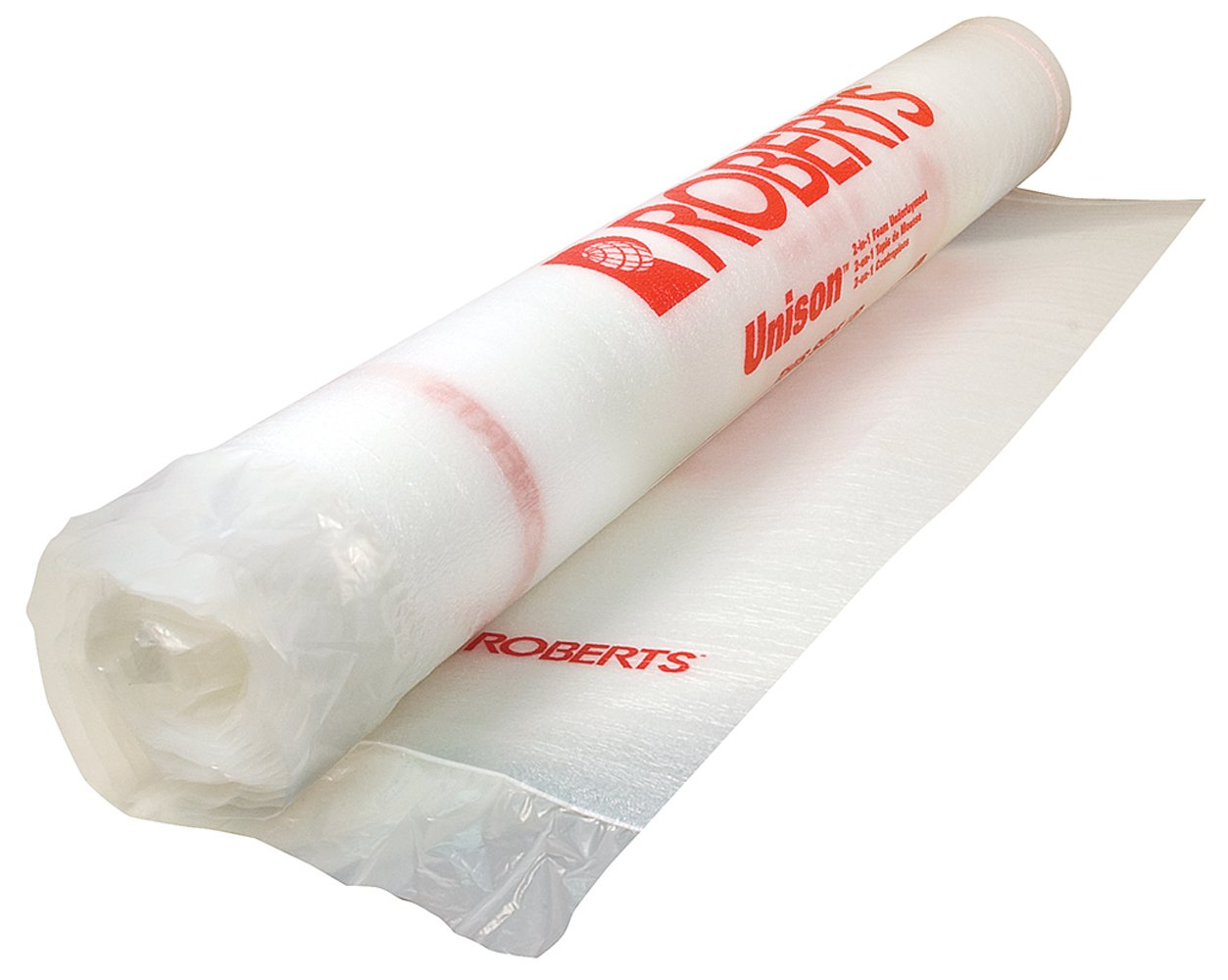 Roberts 70-025 Unison 2-In-1 Underlayment, For Laminate And Wood Floors, Blocks Moisture, Cushions, 100 Sq. Foot Roll