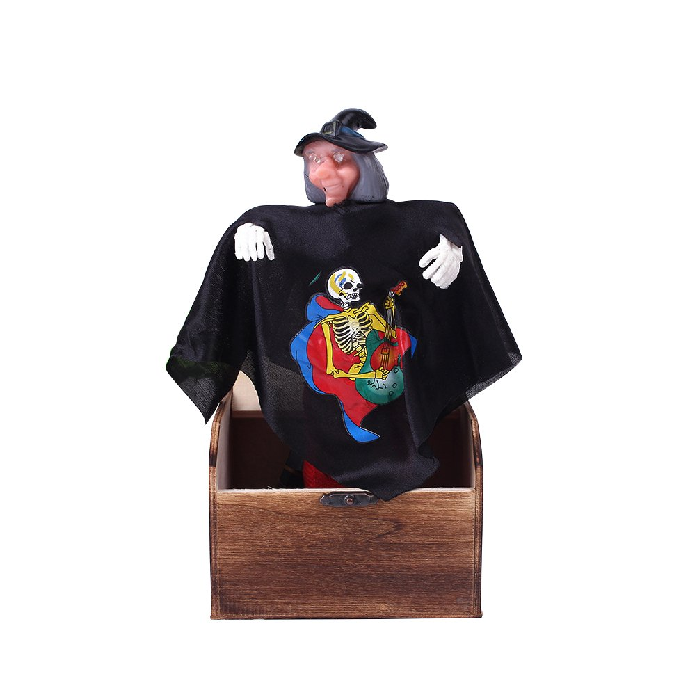 BESTOYARD Halloween Prank Toy Wooden Scary Box Funy Horror Trick Electric Voice Activated Joke Toy (Witch)