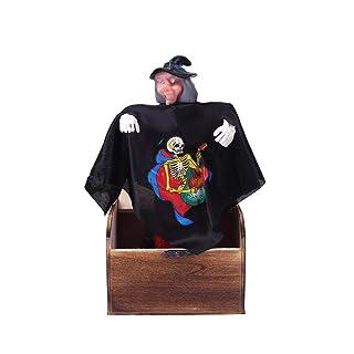 BESTOYARD Halloween Practical Jokes Toy Wooden Box Horror Trick Prank Electro Voice Activated Toy