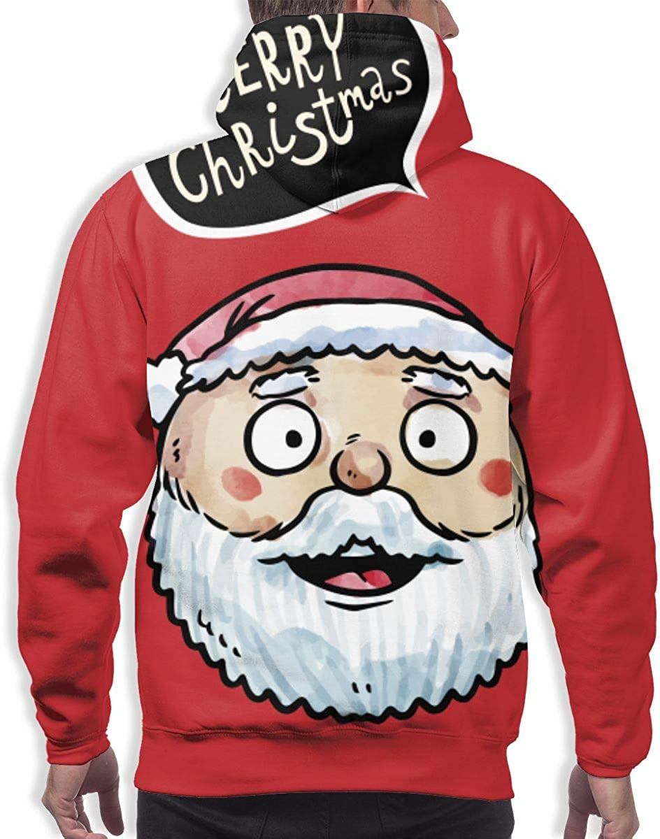 Round Face Santa Claus Mens Hoodie Sweater