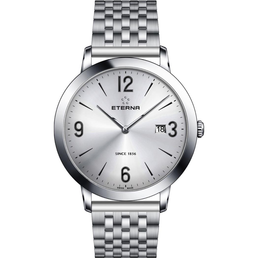 eterna男性の永遠の40 mm Steelブレスレット& Caseサファイアクリスタルクオーツグレーダイヤル腕時計2730 – 41 – 13 – 1746 B07CZFHYMH