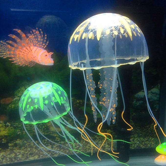 NaiCasy Pecera Vivid Paisaje Tubo Fluorescente Modelado Medusas Acuario Acuario Decorativo Decorativas Naranja, Suministros de Pescado: Amazon.es: Hogar