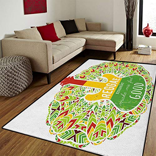 (Rasta,Floor Mat for Kids,Reggae Music Makes Me Feel Good Quote Jamaican Island Culture Iconic Guitar,Bath Mat for tub Bathroom Mat,Green Yellow and Red,4x5 ft)