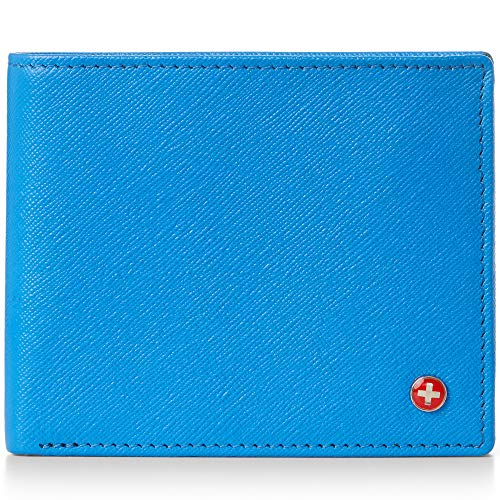 Alpine Swiss RFID Mathias Mens Wallet Deluxe Capacity Passcase Bifold With Divided Bill Section Camden Collection Crosshatch Aqua