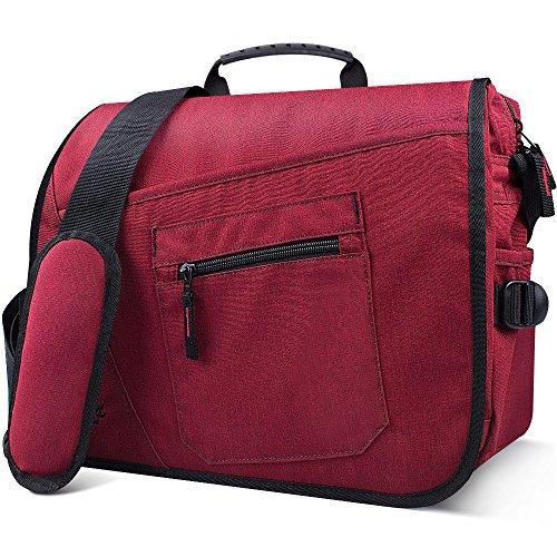 Qipi Messenger Bag - Pocket Rich Satchel Shoulder Bag for Men & Women - with 15.6 inch Laptop Compartment (Candy (Red Womens Messenger Bag)