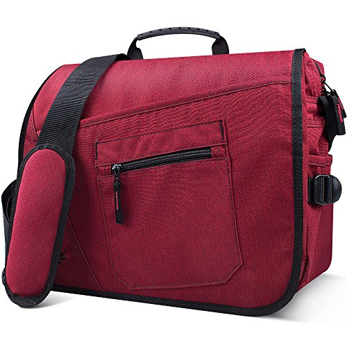 Qipi Messenger Bag - Pocket Rich Satchel Shoulder Bag for Men & Women - with 15.6 inch Laptop Compartment (Candy Red) by Qipi