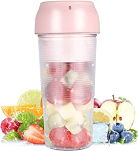 Protable Size Blender,Cordless Juicer Cup,Pink Color Mini Mixer,Smoothie Blender With USB Rechargeable,for Home,Office,Sports,Travel,Outdoors,School (Pale Pink)