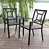 PHI VILLA Patio Metal Arm Chairs Indoor Outdoor Dining Chairs Set with Square Back – 2 Pack, e-coating Black