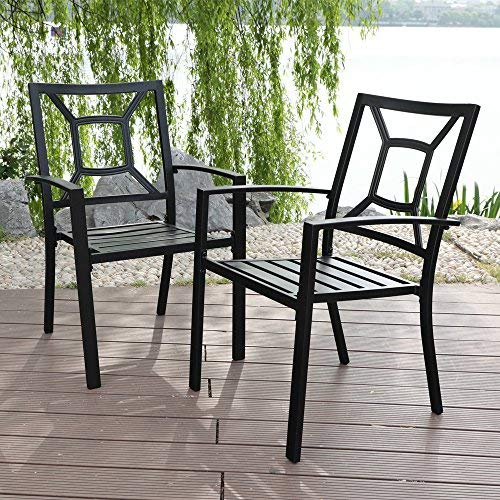PHI VILLA Patio Metal Arm Chairs Indoor Outdoor Dining Chairs Set with Square Back - 2 Pack, e-coating Black