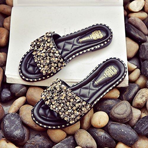 IANGL Slip Bottomed Ladies Flat Flat Slippers Sandals Nero Anti Summer Slippers Drill Cool rwp8qFSr