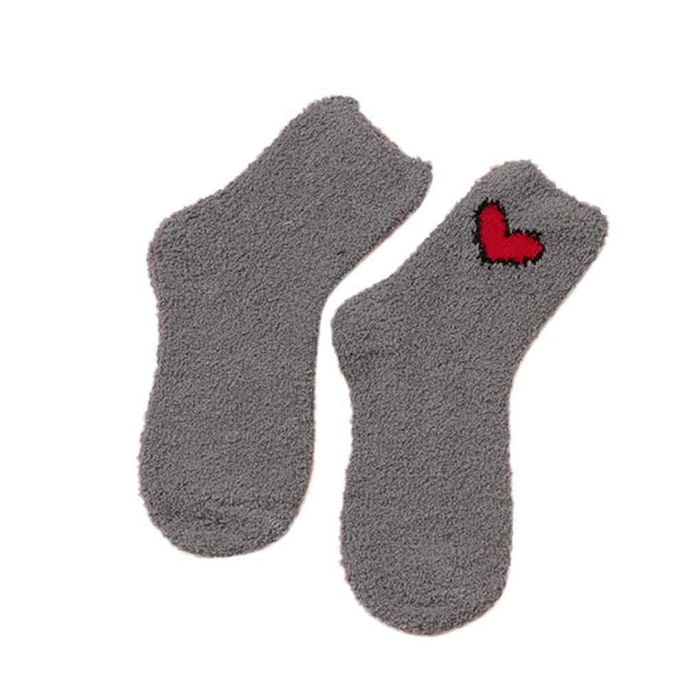 ⁑⁑Women Cotton Floor Socks, Bed Sleep Thicker Anti-slip Coral Fleece Carpet Casual Home Socks residentD (Gray)