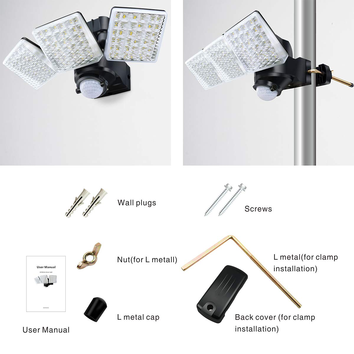 STASUN 20W LED Strahler mit einstellbarem Bewegungsmelder 2000LM 5000K Tageslichtwei/ß 180/° Erfassungswinkel IP65 Wasserdichtes Flutlich