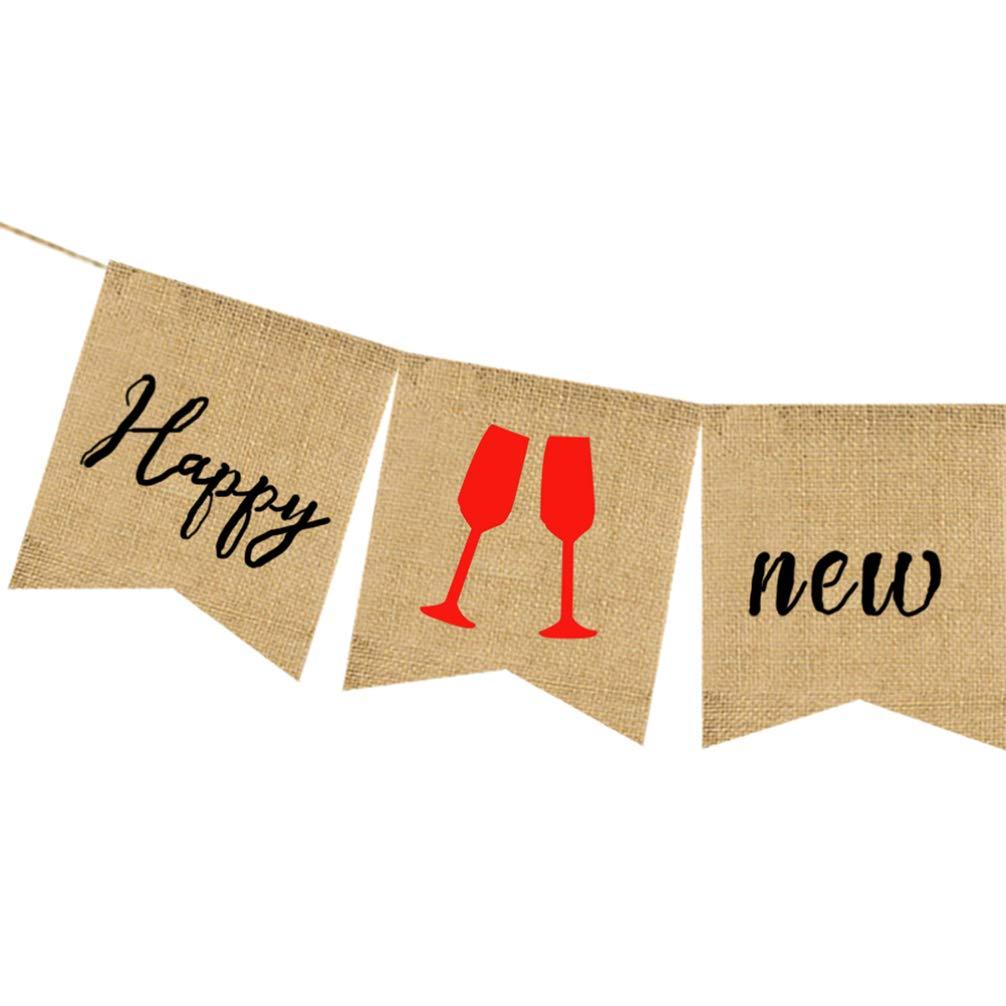 Festone in tela di iuta 2020 festa del nuovo anno sera ghirlanda per decorazione di festa dellanno 2020 Amosfun